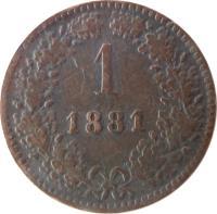 reverse of 1 Kreuzer - Franz Joseph I (1858 - 1881) coin with KM# 2186 from Austria. Inscription: 1 1881