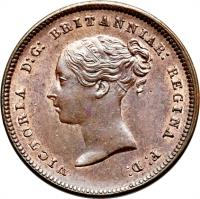 obverse of 1/2 Farthing - Victoria - 1'st Portrait (1839 - 1856) coin with KM# 738 from United Kingdom. Inscription: VICTORIA D:G: BRITANNIAR: REGINA F:D: