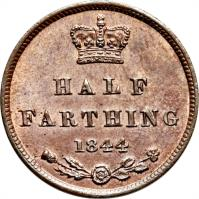 reverse of 1/2 Farthing - Victoria - 1'st Portrait (1839 - 1856) coin with KM# 738 from United Kingdom. Inscription: HALF FARTHING 1844