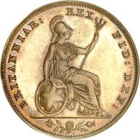reverse of 1 Farthing - William IV (1831 - 1837) coin with KM# 705 from United Kingdom. Inscription: BRITANNIAR: REX FID: DEF: