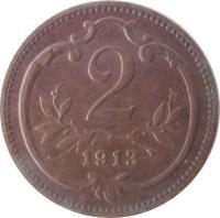 reverse of 2 Heller - Franz Joseph I (1892 - 1915) coin with KM# 2801 from Austria. Inscription: 2 1913