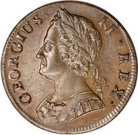 obverse of 1/2 Penny - George II (1740 - 1754) coin with KM# 579 from United Kingdom. Inscription: GEORGIUS · II · REX ·