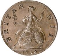 reverse of 1/2 Penny - George II (1740 - 1754) coin with KM# 579 from United Kingdom. Inscription: BRITAN NIA ·