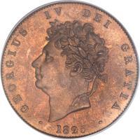 obverse of 1/2 Penny - George IV (1825 - 1827) coin with KM# 692 from United Kingdom. Inscription: GEORGIUS IV DEI GRATIA · 1825 ·