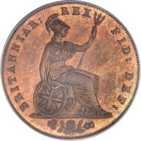 reverse of 1/2 Penny - George IV (1825 - 1827) coin with KM# 692 from United Kingdom. Inscription: BRITANNIAR: REX FID: DEF: