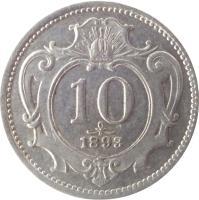 reverse of 10 Heller - Franz Joseph I (1892 - 1911) coin with KM# 2802 from Austria. Inscription: 10 1898