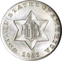 obverse of 3 Cents - No outlines in star (1851 - 1853) coin with KM# 75 from United States. Inscription: UNITED STATES OF AMERICA 1851