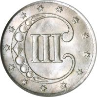 reverse of 3 Cents - No outlines in star (1851 - 1853) coin with KM# 75 from United States. Inscription: III