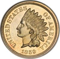 obverse of 1 Cent - Indian Head Cent; Without shield (1859) coin with KM# 87 from United States. Inscription: UNITED STATES OF AMERICA LIBERTY 1859