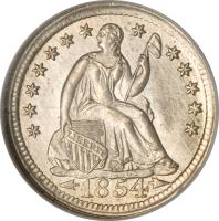 obverse of 1/2 Dime - Seated Liberty Half Dime; Arrows at date (1853 - 1855) coin with KM# 76 from United States. Inscription: LIBERTY 1854