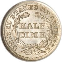 reverse of 1/2 Dime - Seated Liberty Half Dime; Arrows at date (1853 - 1855) coin with KM# 76 from United States. Inscription: UNITED STATES OF AMERICA HALF DIME