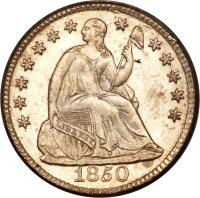 obverse of 1/2 Dime - Seated Liberty Half Dime; With drapery (1838 - 1859) coin with KM# 62 from United States. Inscription: LIBERTY 1842