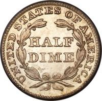 reverse of 1/2 Dime - Seated Liberty Half Dime; With drapery (1838 - 1859) coin with KM# 62 from United States. Inscription: UNITED STATES OF AMERICA HALF DIME