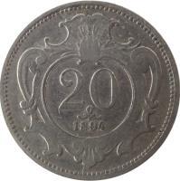 reverse of 20 Heller - Franz Joseph I (1892 - 1914) coin with KM# 2803 from Austria. Inscription: 20 1894
