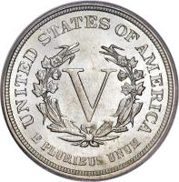 reverse of 5 Cents - Liberty Nickel; Without CENTS (1883) coin with KM# 111 from United States. Inscription: UNITED STATES OF AMERICA V E PLURIBUS UNUM