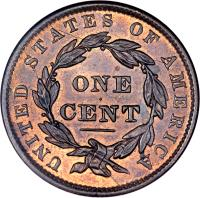 reverse of 1 Cent - Coronet / Matron Cent; Type 2 (1837 - 1839) coin with KM# 45.2 from United States. Inscription: UNITED STATES OF AMERICA ONE CENT