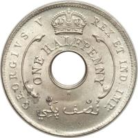obverse of 1/2 Penny - George V (1912 - 1936) coin with KM# 8 from British West Africa. Inscription: GEORGIVS V REX ET IND: IMP: ONE HALFPENNY نصف پنّي