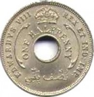 obverse of 1/2 Penny - Edward VIII (1936) coin with KM# 15 from British West Africa. Inscription: EDWARDVS VIII REX ET IND:IMP: ONE HALFPENNY نصف پني