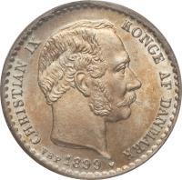 obverse of 10 Øre - Christian IX (1874 - 1905) coin with KM# 795 from Denmark. Inscription: CHRISTIAN IX KONGE AF DANMARK 1903 VBP