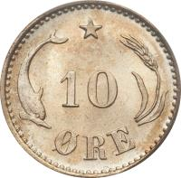 reverse of 10 Øre - Christian IX (1874 - 1905) coin with KM# 795 from Denmark. Inscription: 10 ØRE