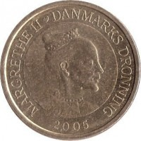 obverse of 10 Kroner - Margrethe II - Little Mermaid - 4'th Portrait (2005) coin with KM# 900 from Denmark. Inscription: MARGRETHE II ♥ DANMARKS DRONNING 2005