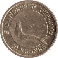 reverse of 10 Kroner - Margrethe II - Little Mermaid - 4'th Portrait (2005) coin with KM# 900 from Denmark. Inscription: H.C.ANDERSEN 1805-2005 10 KRONER