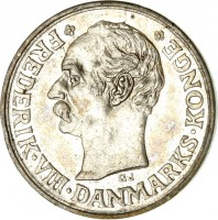obverse of 10 Øre - Frederik VIII (1907 - 1912) coin with KM# 807 from Denmark. Inscription: FREDERIK · VIII · DANMARKS · KONGE GJ