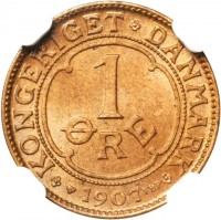 reverse of 1 Øre - Frederik VIII (1907 - 1912) coin with KM# 804 from Denmark. Inscription: KONGERIGET DANMARK 1 ØRE 1907