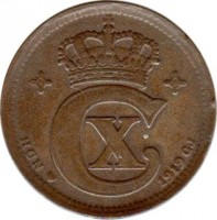 obverse of 5 Øre - Christian X (1913 - 1923) coin with KM# 814 from Denmark. Inscription: 1919