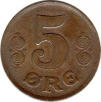 reverse of 5 Øre - Christian X (1913 - 1923) coin with KM# 814 from Denmark. Inscription: 5 ORE