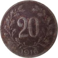 reverse of 20 Heller - Karl I (1916 - 1918) coin with KM# 2826 from Austria. Inscription: 20 1916