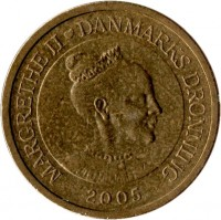 obverse of 10 Kroner - Margrethe II - Ugly Duckling - 4'th Portrait (2005) coin with KM# 898 from Denmark. Inscription: MARGRETHE II ♥ DANMARKS DRONNING 2005