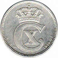 obverse of 25 Øre - Christian X (1913 - 1919) coin with KM# 815 from Denmark. Inscription: HCN - CX - 1919 - GJ