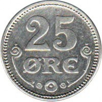 reverse of 25 Øre - Christian X (1913 - 1919) coin with KM# 815 from Denmark. Inscription: 25 Ore