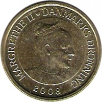 obverse of 10 Kroner - Margrethe II - Sirius - 4'th Portrait (2008) coin with KM# 925 from Denmark. Inscription: MARGRETHE II DANMARKS DRONNING 2008