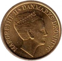 obverse of 20 Kroner - Margrethe II - Birthday - 5'th Portrait (2010) coin with KM# 937 from Denmark. Inscription: MARGRETHE II ♥ DANMARKS DRONNING