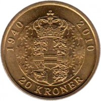 reverse of 20 Kroner - Margrethe II - Birthday - 5'th Portrait (2010) coin with KM# 937 from Denmark. Inscription: 1940 2010 20 KRONER