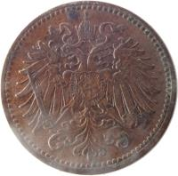 obverse of 1 Heller - Franz Joseph I (1892 - 1916) coin with KM# 2800 from Austria.