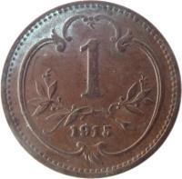 reverse of 1 Heller - Franz Joseph I (1892 - 1916) coin with KM# 2800 from Austria. Inscription: 1 1915