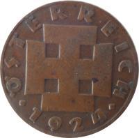 obverse of 200 Kronen (1924) coin with KM# 2833 from Austria. Inscription: ÖSTERREICH · 1924 ·