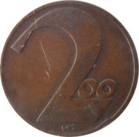 reverse of 200 Kronen (1924) coin with KM# 2833 from Austria. Inscription: 2oo