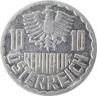 obverse of 10 Groschen (1951 - 2001) coin with KM# 2878 from Austria. Inscription: 10 10 REPUBLIK ÖSTERREICH