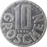 reverse of 10 Groschen (1951 - 2001) coin with KM# 2878 from Austria. Inscription: 10 1995 GROSCHEN
