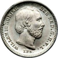 obverse of 5 Cents - Willem III (1850 - 1887) coin with KM# 91 from Netherlands. Inscription: WILLEM III KONING DER NED.G.H.V.L I.P.S.