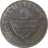 reverse of 5 Schilling (1968 - 2001) coin with KM# 2889a from Austria. Inscription: SCHILLING 5 19 91