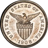 obverse of 5 Centavos - U.S. Administration (1903 - 1928) coin with KM# 164 from Philippines. Inscription: UNITED STATES OF AMERICA · 1908 ·
