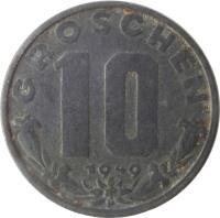 reverse of 10 Groschen (1947 - 1949) coin with KM# 2874 from Austria. Inscription: GROSCHEN 10 1949