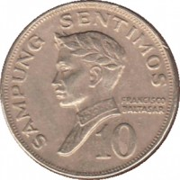 reverse of 10 Sentimos (1967 - 1974) coin with KM# 198 from Philippines. Inscription: SAMPUNG SENTIMOS FRANCISCO BALTASAR 10