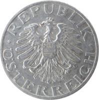 obverse of 50 Groschen (1946 - 1955) coin with KM# 2870 from Austria. Inscription: · REPUBLIK · ÖSTERREICH