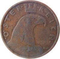 obverse of 1 Groschen (1925 - 1938) coin with KM# 2836 from Austria. Inscription: · ÖSTER REICH · HZ